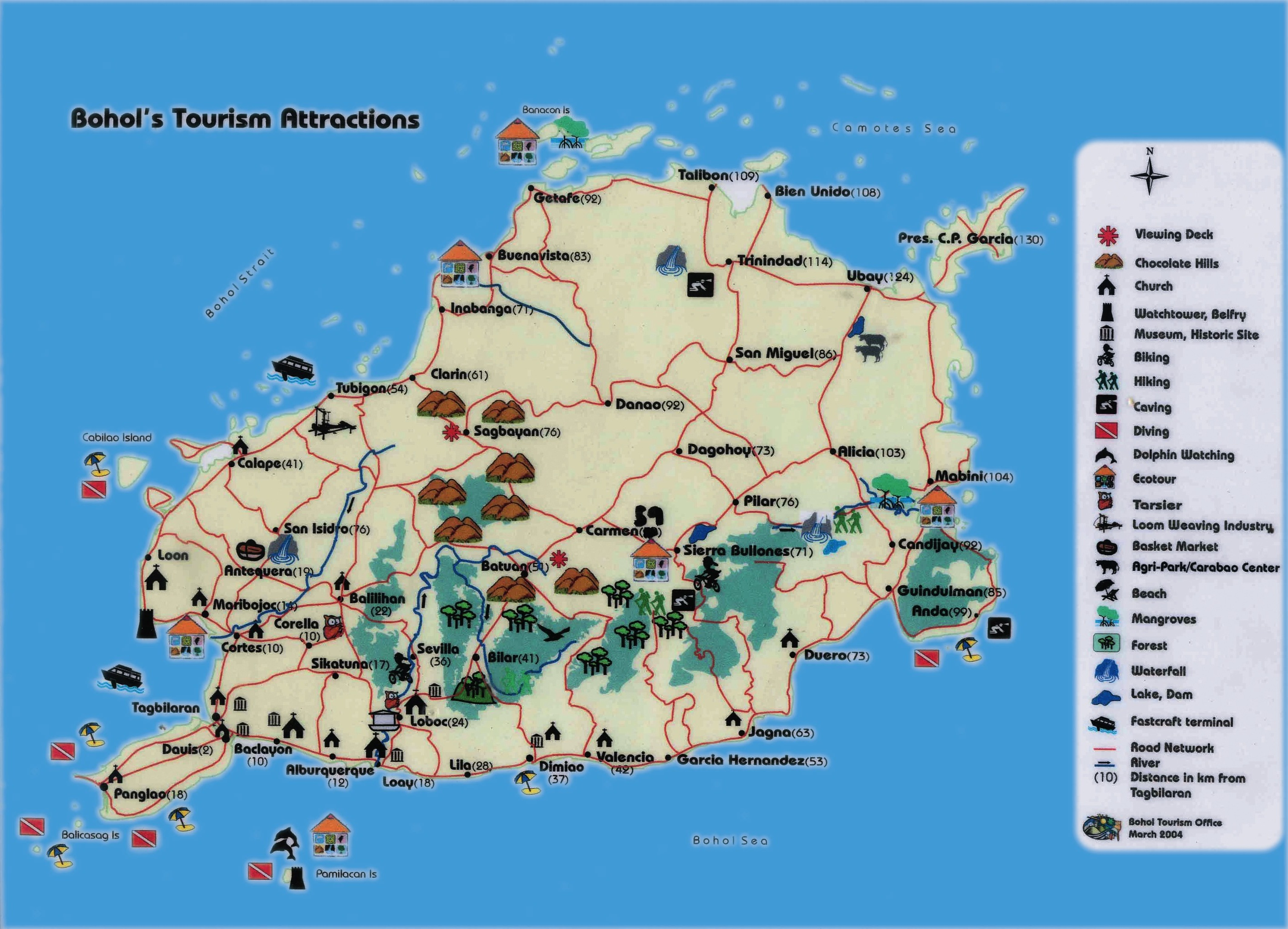 bohol  location maps - map of tourist attractions in bohol