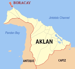 Location of Boracay Island @ the tip of Malay, Aklan Province