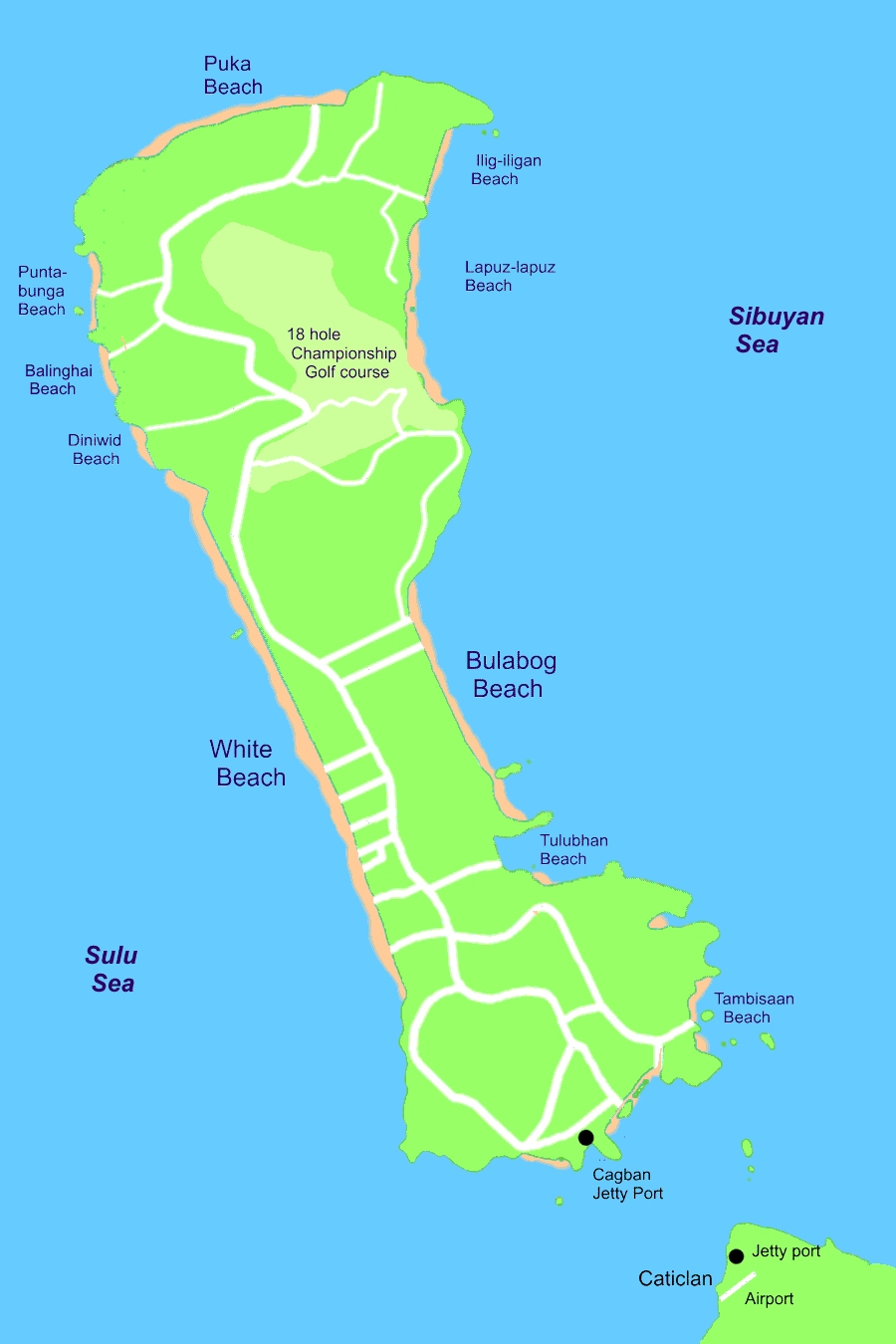 Map of Beaches in Boracay Island