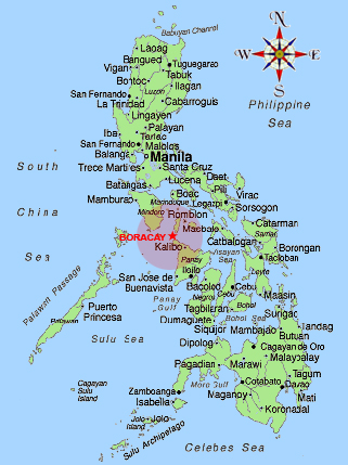 Location of Boracay Island in the Philippines